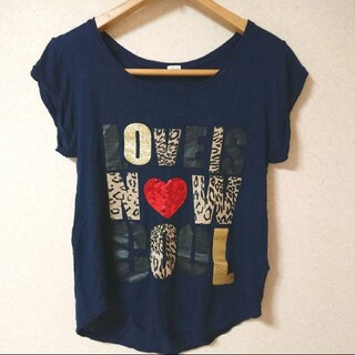 GU - GU スパンコール グリッターTシャツ ネイビー Mサイズ