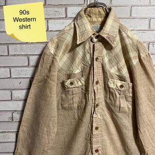 90s 古着 ヴィンテージ ウエスタンシャツ USA製 BDシャツ くすみカラー(シャツ)