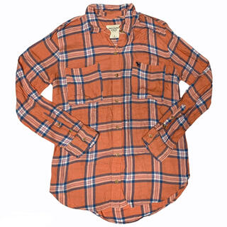 アバクロンビーアンドフィッチ(Abercrombie&Fitch)のアバクロンビーアンドフィッチ オレンジチェックシャツ カリフォルニア州 春 秋(シャツ)
