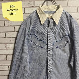 90s 古着 ヴィンテージ ウエスタンシャツ ストライプ  ゆるだぼ(シャツ)
