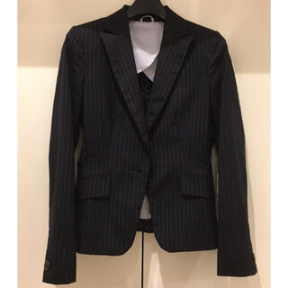 アオキ(AOKI)のJacket ジャケット suit スーツ ストライプ 濃紺 黒 グレー(スーツ)