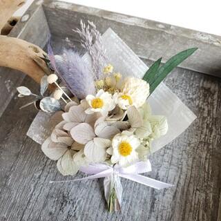 ❤️花かんざしのミニミニブーケ(グリーン×パープル)(ドライフラワー)