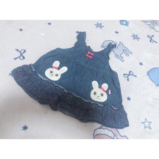 ミキハウス(mikihouse)のMIKIHOUSE デニムジャンバースカート ワンピース 70cm (ワンピース)