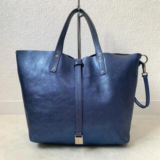 ティファニー(Tiffany & Co.)のティファニー ハンドバッグ リバーシブル マーケット レザー ブルー メタリック(ハンドバッグ)