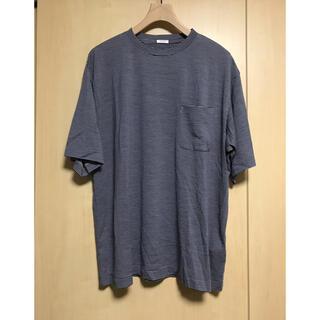 コモリ(COMOLI)のcomoli コモリ ウール天竺 半袖クルー border サイズ3(Tシャツ/カットソー(半袖/袖なし))