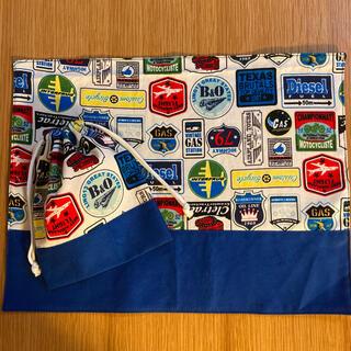 ワッペン柄 ブルー ランチョンマット コップ袋(外出用品)