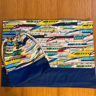 新幹線柄 ブルー 青 ランチョンマット コップ袋(外出用品)
