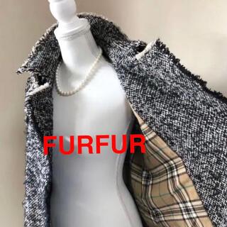 ファーファー(fur fur)のFURFUR ファーファー ツイード ダブル コート ドレスコート SM 黒(ロングコート)