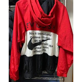 NIKE - NIKE ナイロンジャケット バックプリント 赤 デカロゴ