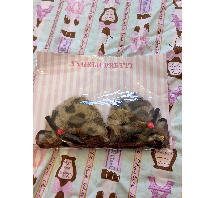 Angelic Pretty(アンジェリックプリティー)のGirly Leopardジャンパースカート、猫耳クリップセット レディースのワンピース(ひざ丈ワンピース)の商品写真