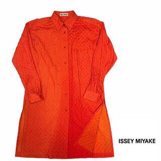 イッセイミヤケ(ISSEY MIYAKE)のISSEY MIYAKE イッセイミヤケ シャツ ワンピース メッシュ スリット(ロングワンピース/マキシワンピース)