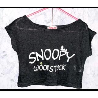 スヌーピー(SNOOPY)のスヌーピー 薄手ニット トップス 半袖 ブラック 重ね着 110(Tシャツ/カットソー)