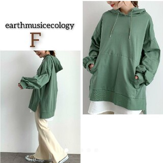 アースミュージックアンドエコロジー(earth music & ecology)の新品 アースミュージックエコロジー ボリューム袖スウェットパーカー トップス (パーカー)