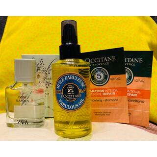 ロクシタン(L'OCCITANE)のロクシタン ボディオイル + Zara香水 (2点+お試しシャンプーリンス付)(ボディオイル)