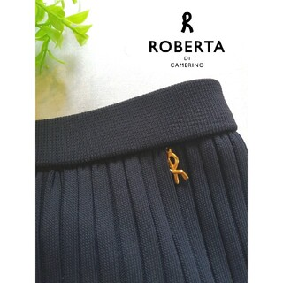 ROBERTA DI CAMERINO - ロベルタ Roberta ネイビー リブニット スカート