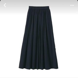 ムジルシリョウヒン(MUJI (無印良品))の無印良品 洗いざらし強撚ギャザースカート M-L 黒(ロングスカート)