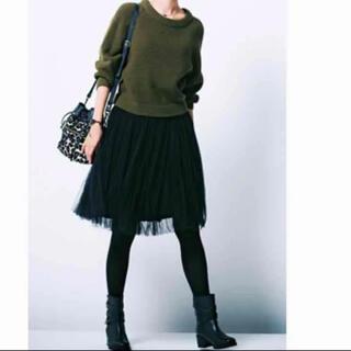 ダブルスタンダードクロージング(DOUBLE STANDARD CLOTHING)の【未使用】ダブスタ♡チュールスカート ブラック(ひざ丈スカート)