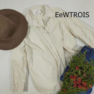 フィリシモ 襟付き カットソー オフホワイト 白 サイズLL シャツ シンプル(Tシャツ(長袖/七分))