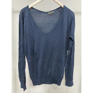 アニエスベー(agnes b.)のagnes b. アニエスベーフランス製 Vネックニットセーター 長袖トップス紺(ニット/セーター)