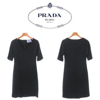 プラダ(PRADA)のPRADA ワンピース ブラック サイズ 40 ドレス 半袖 Vネック(ロングワンピース/マキシワンピース)