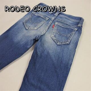 ロデオクラウンズワイドボウル(RODEO CROWNS WIDE BOWL)のロデオクラウンズ ユーズド加工ストレッチスキニー 24 ウエスト約62cm(デニム/ジーンズ)