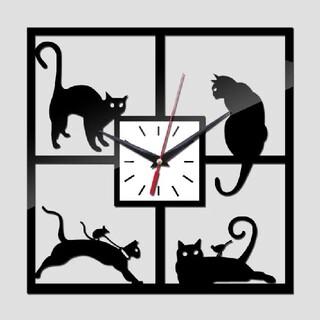 ネコ 猫 ウォールクロック 掛け時計 ブラック 3Dミラー DIY