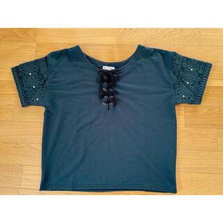 axes femme - アクシーズファム  レースアップ半袖Tシャツ