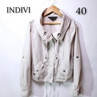 インディヴィ(INDIVI)の【美品♪】INDIVI インディヴィ ブルゾン ライトグレー 大きいサイズ 40(ブルゾン)