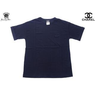 CHANEL - 【新品】CHANEL Tシャツ 海外店舗ユニフォーム 刺繍ロゴ ネイビー M