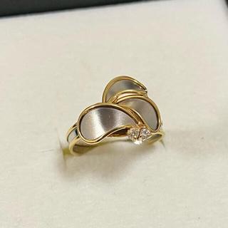 ジュエリーツツミ(JEWELRY TSUTSUMI)のk18×pt850 ダイヤ付き コンビ リング(リング(指輪))