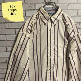 90s 古着 ヴィンテージ  刺繍ロゴ BDシャツ ストライプシャツ ゆるだぼ(シャツ)