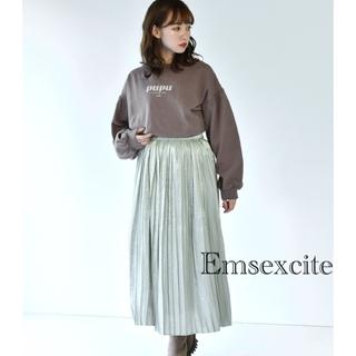 エムズエキサイト(EMSEXCITE)の【Emsexcite】 ヴィンテージサテンプリーツスカート(ロングスカート)