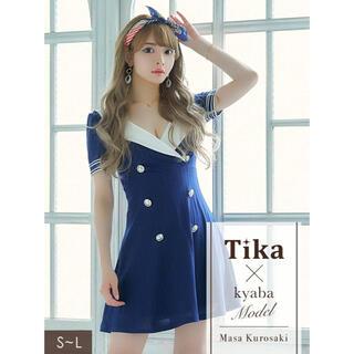 JEWELS - 美ライン韓国ドレス*Tika*セーラー風フレアワンピース