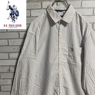 90s 古着 ユーエスポロアッスン 刺繍ロゴ  ストライプシャツ ゆるだぼ(シャツ)