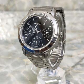 アニエスベー(agnes b.)のアニエスベー 腕時計 シルバー ブラック 電池交換済み(腕時計)