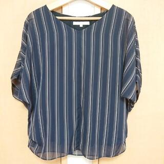 アンタイトル(UNTITLED)のUNTITLED 美品  ブラウス ネイビー ストライプ(シャツ/ブラウス(半袖/袖なし))