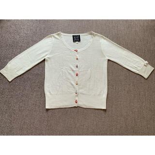 アプワイザーリッシェ(Apuweiser-riche)のハート織り柄カラフルボタン アンサンブルニット白(アンサンブル)