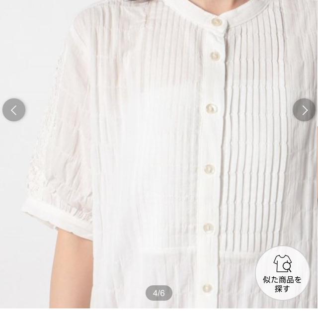 SM2(サマンサモスモス)の新品 サマンサモスモス ピンタックレースブラウス オフ レディースのトップス(シャツ/ブラウス(半袖/袖なし))の商品写真