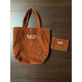 カルディ(KALDI)のKALDI 幅30cm コーデュロイ エコバッグ(ショップ袋)