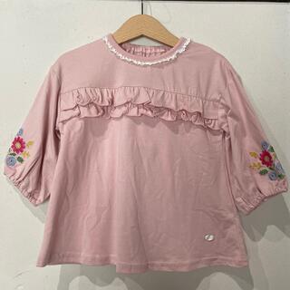ビケットクラブ(Biquette Club)のビケットクラブ ピンク カットソー 花柄刺繍 100(Tシャツ/カットソー)