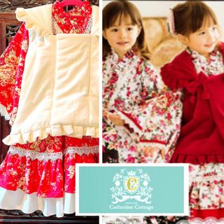 キャサリンコテージ(Catherine Cottage)のキャサリンコテージ 七五三 着物ドレス 赤×ピンク×白 花柄 薔薇 被布 (和服/着物)