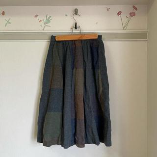 サマンサモスモス(SM2)の古着 スカート ネイビー 日本製(ひざ丈スカート)