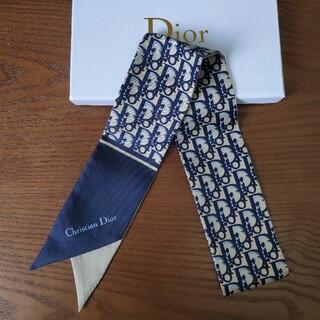 クリスチャンディオール(Christian Dior)のクリスチャンディオール スカーフ ネイビー❗️シンプルでオシャレ❗️❗️(バンダナ/スカーフ)