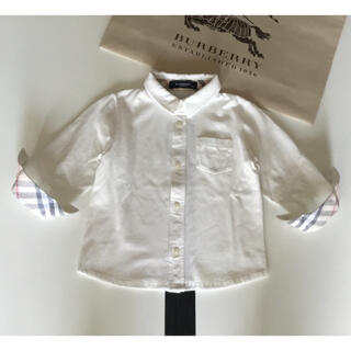 BURBERRY - BURBERRY CHILDREN⭐チェックシャツ ワイシャツ 白 ブラウス