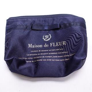 Maison de FLEUR - Maison de FLEUR サテンブランドロゴポーチ レディース ネイビー