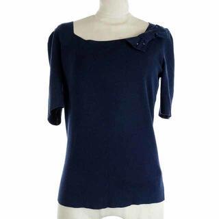 エムズグレイシー(M'S GRACY)のエムズグレイシー カットソー ニット リボン スパンコール 半袖 38 M 紺(カットソー(半袖/袖なし))