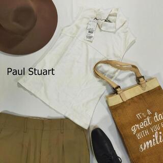 ポールスチュアート(Paul Stuart)の未使用タグ付き ポールスチュアート ハイネックカットソー サイズM ホワイト(Tシャツ(半袖/袖なし))
