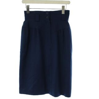 クリスチャンディオール(Christian Dior)のクリスチャンディオール タイトスカート ひざ丈 ウール スリット ボタン M 紺(ひざ丈スカート)