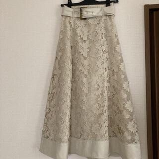 リリーブラウン(Lily Brown)のリリーブラウン 裾切り替え レース スカート(ひざ丈スカート)