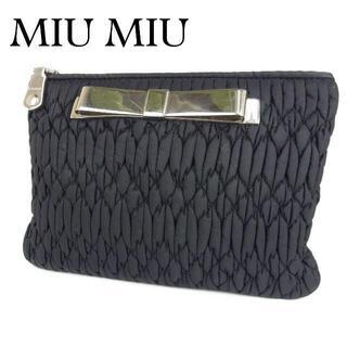 ミュウミュウ(miumiu)のミュウミュウ ロゴ 化粧 コスメ ポーチ ミニ バッグ マルチケース 小物入れ(ポーチ)